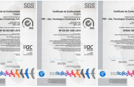 Certeficates of Registration ISO 9001 / ISO 14001 / OHSAS18001